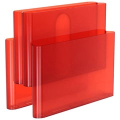 Kartell Magazine Rack in Orange Red by Giotto Stoppino