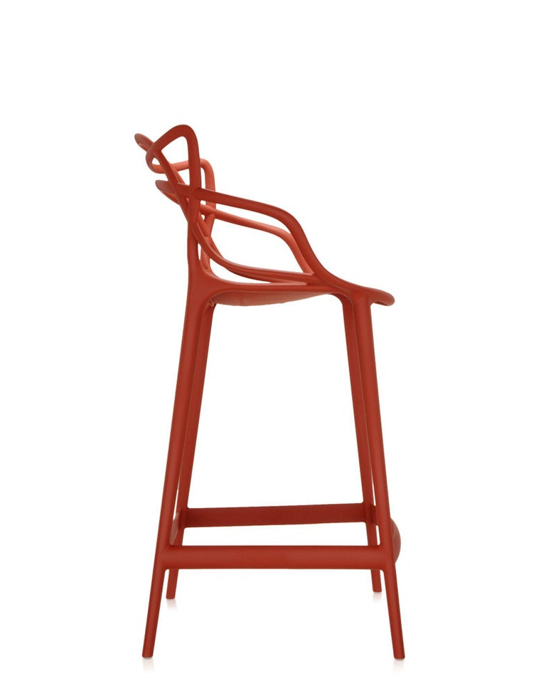 Modern Kartell Master Counter Stool in Rust Orange by Philippe Starck & Eugeni Quitllet For Sale