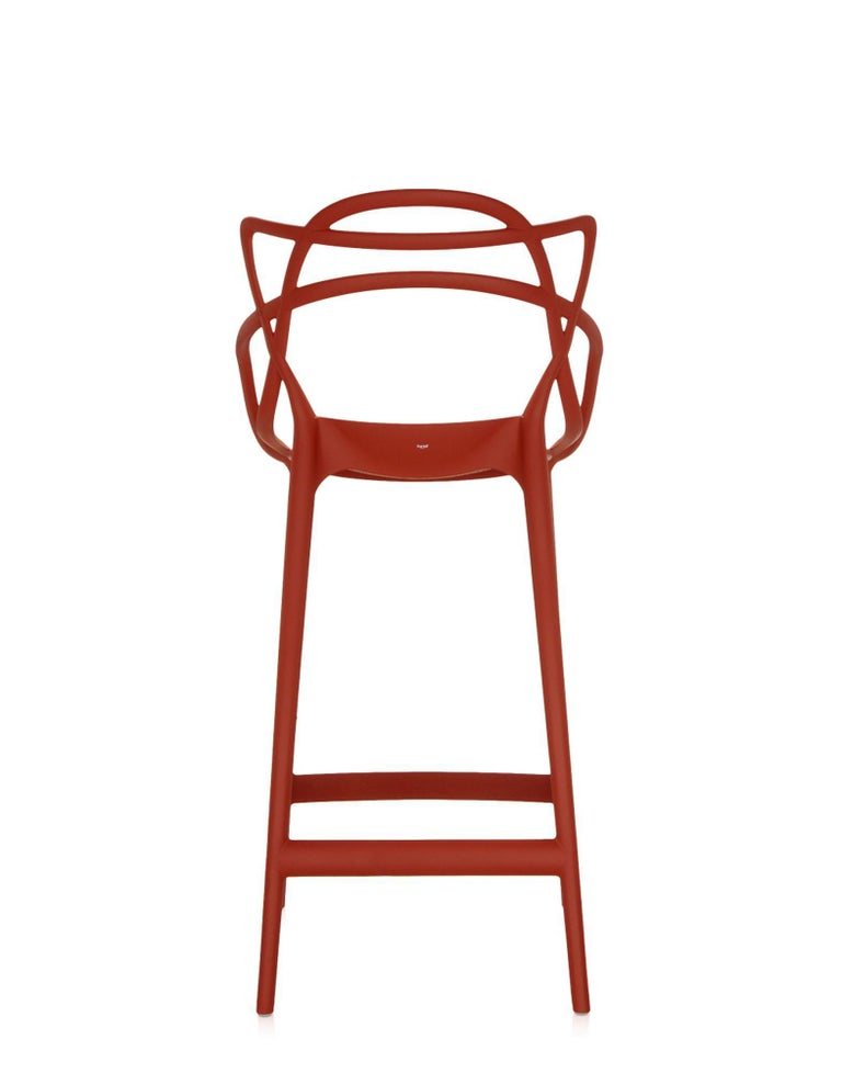 Italian Kartell Master Counter Stool in Rust Orange by Philippe Starck & Eugeni Quitllet For Sale