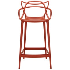 Kartell Master Counter Stool in Rust Orange by Philippe Starck & Eugeni Quitllet