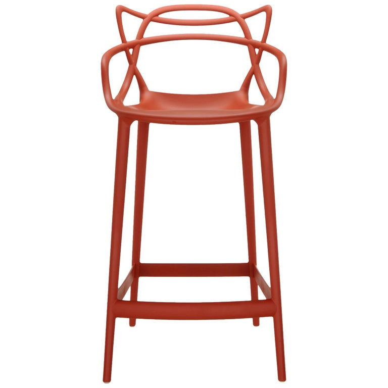 Kartell Master Counter Stool in Rust Orange by Philippe Starck & Eugeni Quitllet For Sale