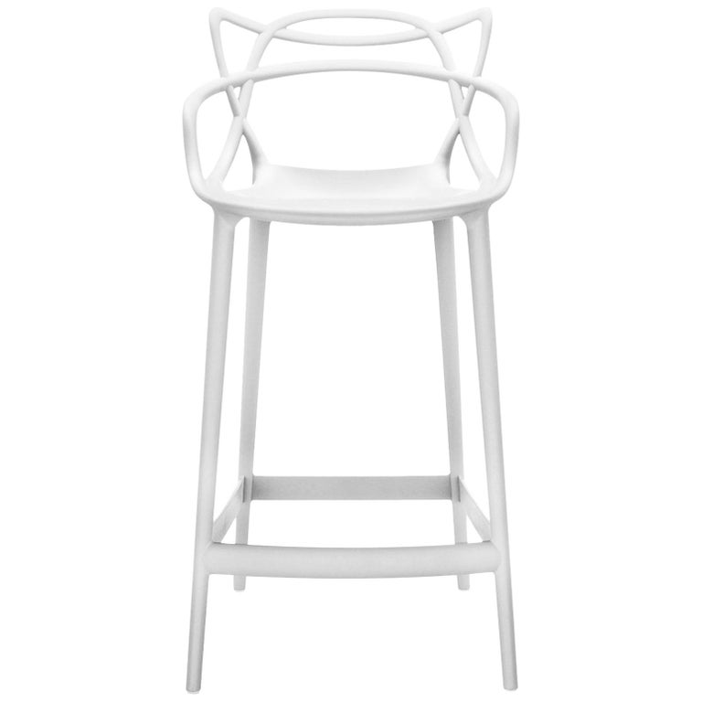 Kartell Masters Bar Stool in White by Philippe Starck & Eugeni Quitllet For Sale