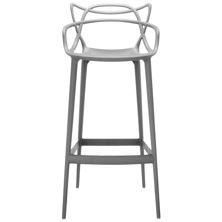Kartell Masters Counter Stool in Grey by Philippe Starck & Eugeni Quitllet For Sale