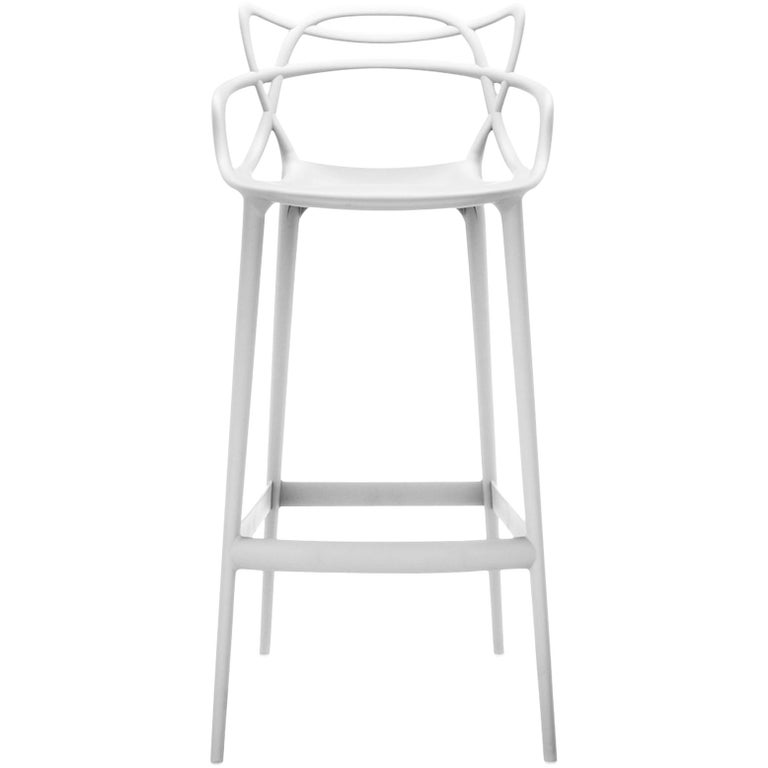 Kartell Masters Counter Stool in White by Philippe Starck & Eugeni Quitllet For Sale