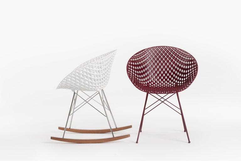 Modern Kartell Smatrik Rocking Chair in Black with Chrome Legs by Tokujin Yoshioka For Sale