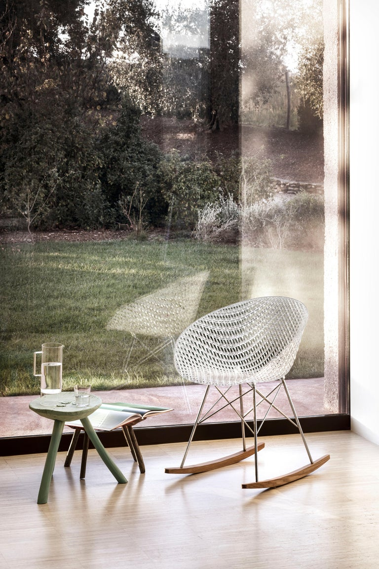 Kartell Smatrik Rocking Chair in Black with Chrome Legs by Tokujin Yoshioka In New Condition For Sale In New York, NY