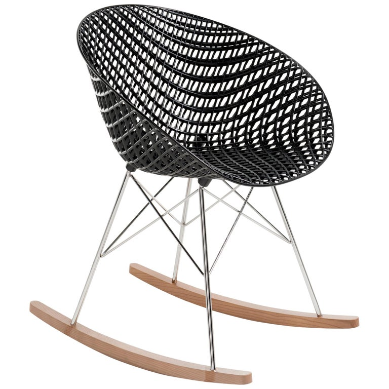 Kartell Smatrik Rocking Chair in Black with Chrome Legs by Tokujin Yoshioka For Sale