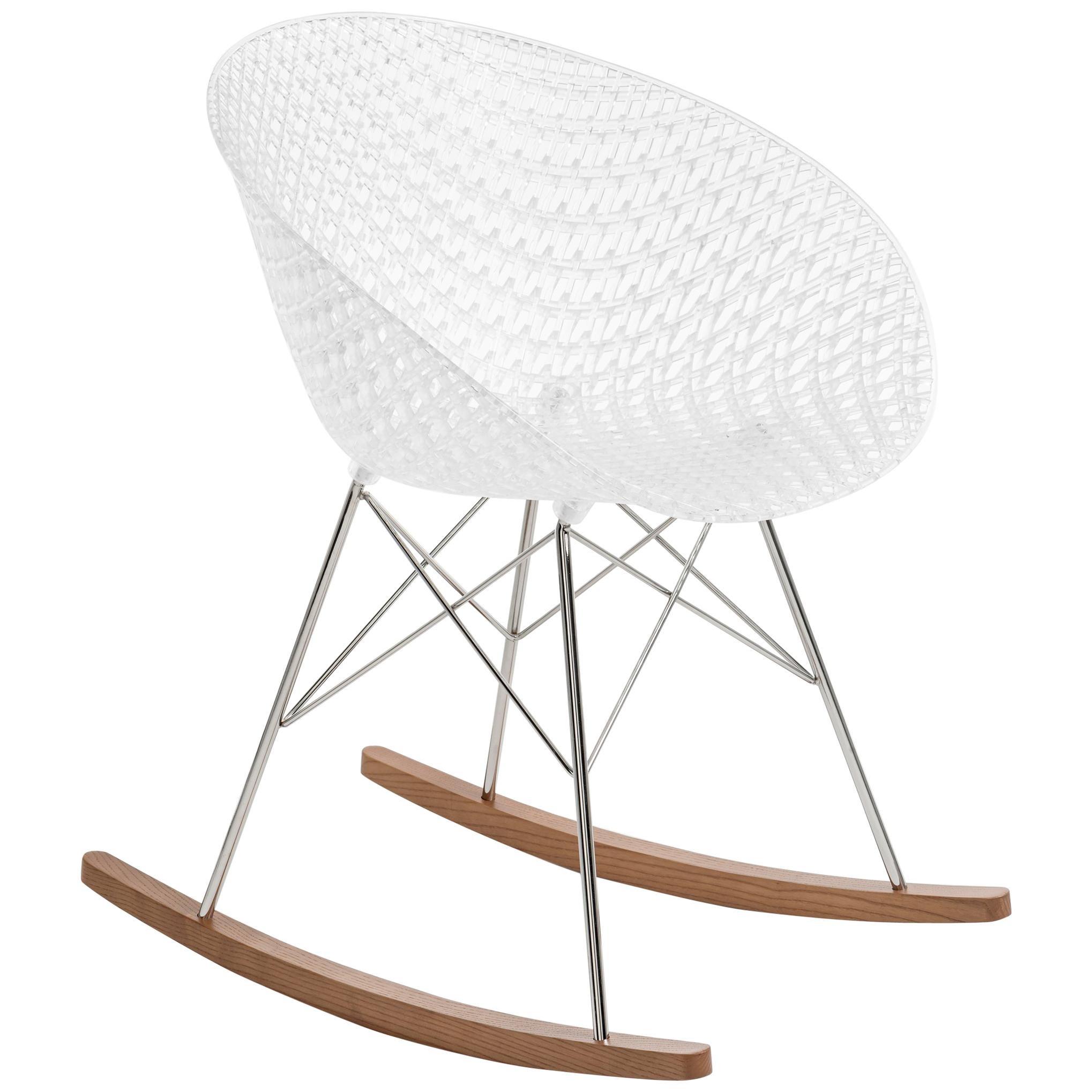 Kartell Smatrik Rocking Chair in White with Chrome Legs by Tokujin Yoshioka