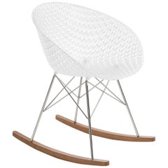 Kartell Matrix Rocking Chair in White with Chrome Legs by Tokujin Yoshioka