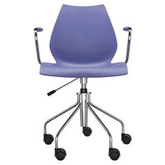 Kartell Maui Swivel Chair Adjustable in Navy Blue by Vico Magistretti