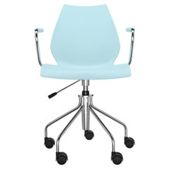 Kartell Maui Swivel Chair Adjustable in Pale Blue by Vico Magistretti