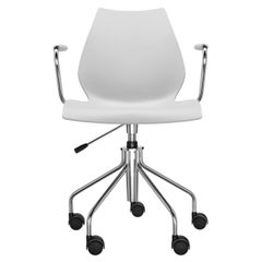 Kartell Maui Swivel Chair Adjustable in Pale Grey by Vico Magistretti