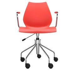 Kartell Maui Swivel Chair Adjustable in Purple Red by Vico Magistretti