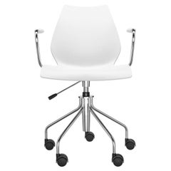 Kartell Maui Swivel Chair Adjustable in Zinc White by Vico Magistretti