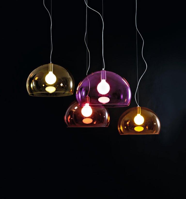 Kartell Medium FL/Y Pendant Light in Chrome by Ferruccio Laviani For Sale 1