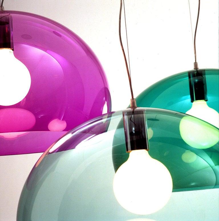 Kartell Medium FL/Y Pendant Light in Chrome by Ferruccio Laviani For Sale 2