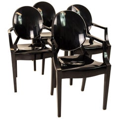 Kartell Midcentury Black Acrylic Ghost Dining Chairs, Set of 4