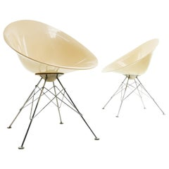 Kartell Philippe Starck Eros Lucite and Chrome Chairs, Midcentury