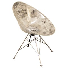 "Kartell Philippe Starck Ghost 'Eros"" Lucite and Chrome Lounge or Accent Chair"