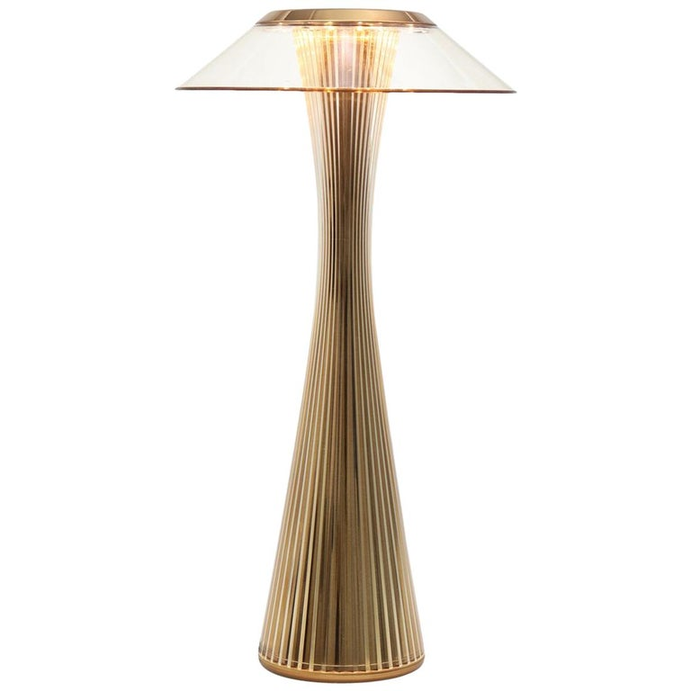 Kartell Space Lamp in Gold with Clear Shade by Adam Tihany For Sale