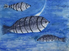 Modern Indian Artist Kartick Ch. Pyne's watercolor painting in blue and black