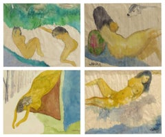 Set of Nude painting, Woman Bathing, Bright Watercolor by Master Indian Artist