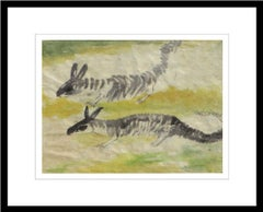 """squirrels, Watercolor on Rice paper, Brown, Green, Yellow by K.C. Pyne""""In Stock"""""""