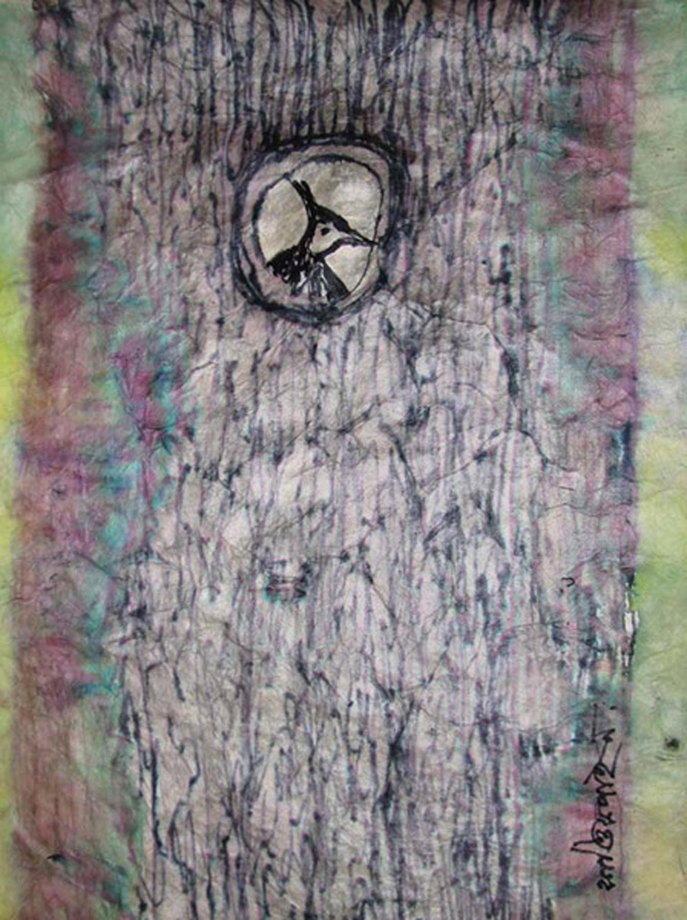 """Birds, Nest, Shelter, Watercolor on Rice Paper, Black, Green, Pink """"In Stock"""""""