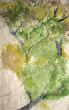 "Landscape Painting, Watercolor, Green, Black, Yellow by Indian Artist ""In Stock"""