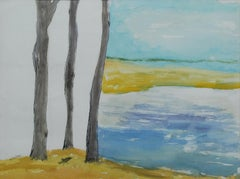 "Landscape Painting, Watercolor on paper, Blue, Black, Brown, Yellow ""In Stock"""