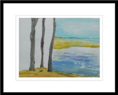 "Landscape, Watercolor on paper, Blue, Brown, Yellow by Modern Artist ""In Stock"""