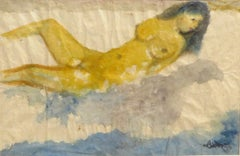 """Nude Women Bathing, Reclining, Watercolor, Blue, Black, Yellow colors """"In Stock"""""""
