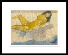 "Nude Woman Bathing, Reclining, Watercolor, Blue, Yellow by K.C. Pyne ""In Stock"""