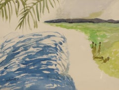 "Watercolor, Landscape Nude, Blue, Green, Black, Yellow by IndianArtist""In Stock"""