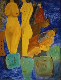 "Women Nude, Heads, Blue Green Ochre, Acrylic Canvas by Indian Master ""In Stock"""