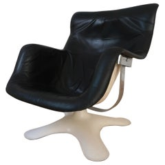 Karuselli Leather and Fiberglass Swivel Armchair by Yrjö Kukkapuro for Haimi