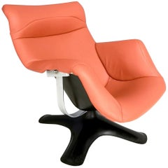 Karuselli Lounge Chair by Yrjö Kukkapuro for Haimi in Orange Leather, 1960s