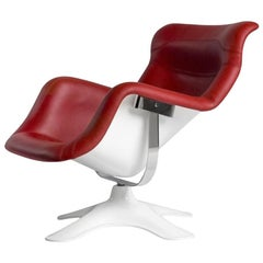 Karuselli Lounge Chair with Red Leather by Yrjö Kukkapuro & Artek