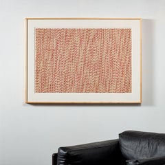 Fractured III (Red), Vintage Paper Straw Wall Sculpture by Karyl Sisson