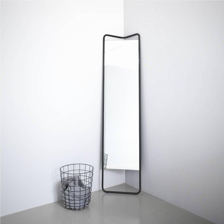 Scandinavian Modern Kaschkasch Floor Mirror by Kaschkasch Cologne, Black Frame For Sale