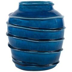 Kasey Vase in Dark Blue Ceramic by CuratedKravet