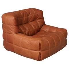 Kashima Lounge Chair in Cognac Full Grain Natural Leather for Ligne Roset France