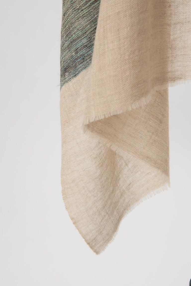 Gray Kashmir Hand Woven Variegated Aqua Lavender  100 % Natural Cashmere Shawl For Sale
