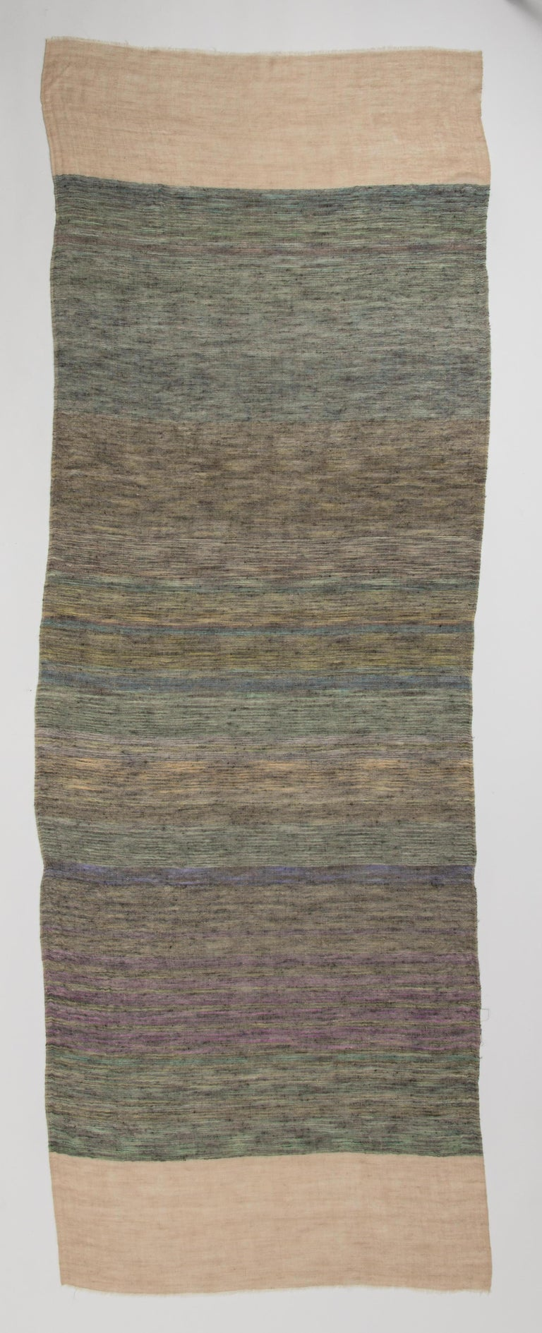Kashmir Hand Woven Variegated Aqua Lavender  100 % Natural Cashmere Shawl In New Condition For Sale In New York, NY