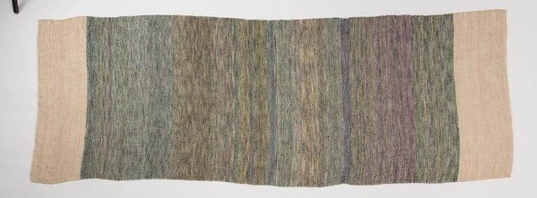 Women's or Men's Kashmir Hand Woven Variegated Aqua Lavender  100 % Natural Cashmere Shawl For Sale