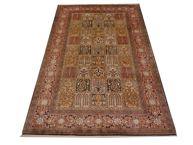 Fine Kashmir pure silk pile rug.   Rug making has a long tradition in the northern parts of India. Kashmir is a main center of rug production - silk as well as wool. Kashmir rugs are very famous throughout the world for their quality and beauty.