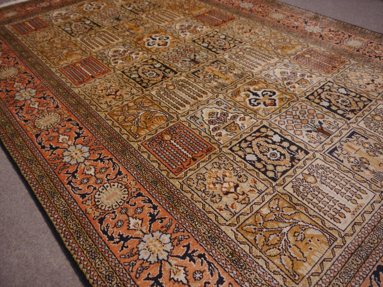 Kashmir Pure Silk Indian Rug with Panel Design For Sale 1