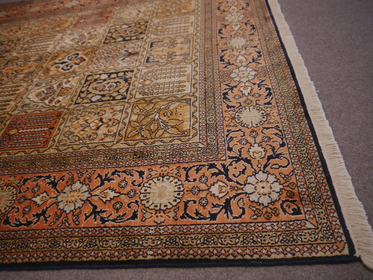Kashmir Pure Silk Indian Rug with Panel Design For Sale 2