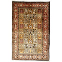 Kashmir Pure Silk Indian Rug with Panel Design