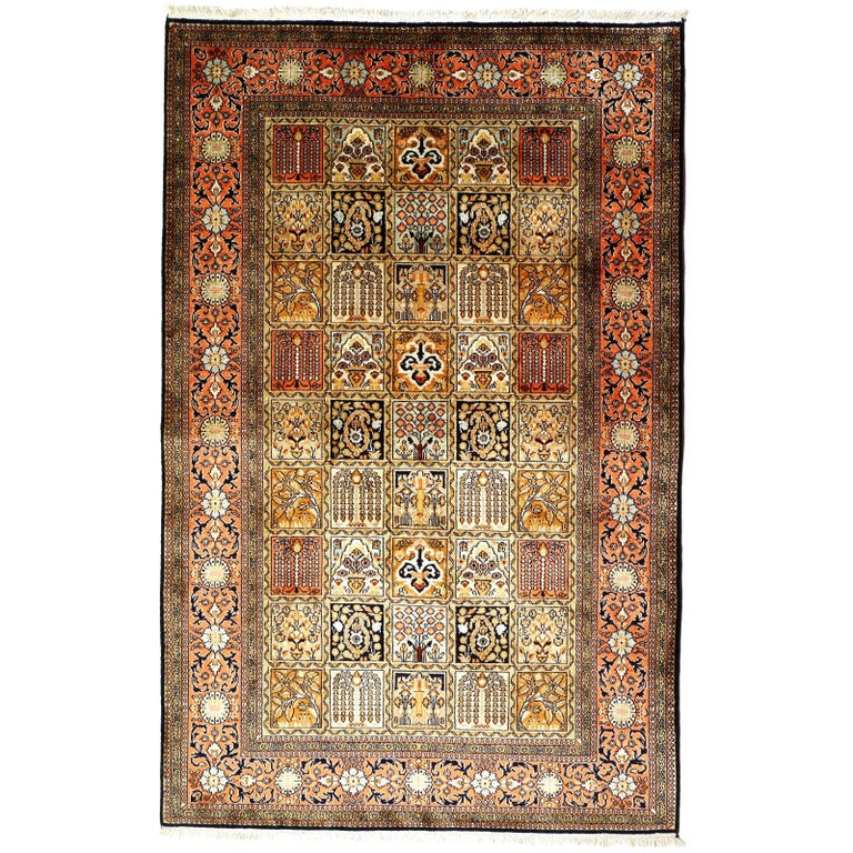 Kashmir Pure Silk Indian Rug with Panel Design For Sale